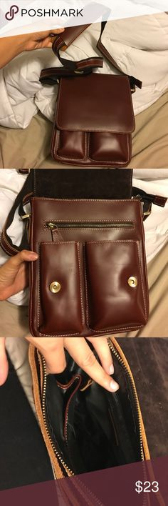 Leather satchel Never used SO nice and great material. Brown leather could be used for school or to hold a camera or anything ! Not fossil Fossil Bags
