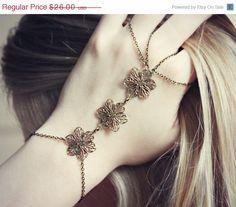 4th OF JULY SALE filigree flower slave bracelet by alapopjewelry, $22.10