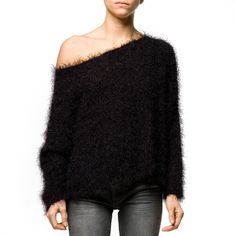 Fluffy Jumper Women's black, women's fashion & apparel, women's knits