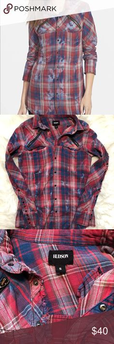 Husdon Jeans Ryan Snap Flannel In Navy Red Faded indigo pairs nicely with rosy plaid on this fitted long-sleeve shirt. Zip pockets stylishly embellish the yoke, while the cuffs and hemline are finished with a gentle fray. 100% cotton. Machine wash cold, tumble dry medium. By Hudson Jeans; imported.  Snap button missing (6th photo) Some fraying sparse (7th photo) Otherwise in great condition! Pit to pit: 18 inches Length: 26 inches Size: Small Hudson Jeans Tops Button Down Shirts