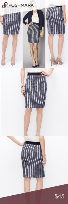 NWT Ann Taylor Navy Striped Tweed Skirt NWT-Never worn. No stains or rips. No flaws! 👌🏼 gorgeous Tweed skirt perfect for work! Dry Clean only. Measurements coming soon! Ann Taylor Skirts Pencil