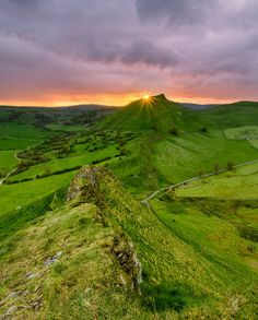 Starburst - Parkhouse Hill, Peak District, UK. by Daniel Kay.....  #sky #landscape #sunset #spring #nature #sun #clouds #glow #road #beautiful #bright #view #evening #horizon #green #pink #fields #countryside #moody #hill #rural #dramatic #outdoors #scenic #starburst #ParkhouseHill #England