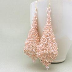 Pink Beaded Earrings Wire Crochet Jewelry Wire by ALBINAROSE, $45.00