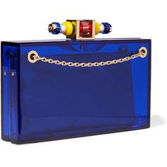Charlotte Olympia Dora 1920 embellished Perspex clutch ($1,560) ❤ liked on Polyvore featuring bags, handbags, clutches, blue clutches, structured handbags, lucite purse, structured purse and acrylic purse