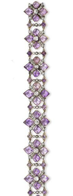 -A rare century amethyst and diamond bracelet. The openwork strap composed of kite-shaped amethysts and cushion-shaped and old brilliant-cut diamond quatrefoils, mounted in silver and gold, closed-back settings throughout, length 28 cm Purple Jewelry, Royal Jewelry, Amethyst Jewelry, Amethyst Bracelet, Diamond Bangle, Emerald Diamond, Diamond Jewellery, Diamond Earrings, Silver Jewelry