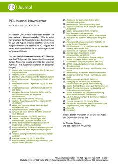 Startseite von Pfeffers PR-Newsletter Nr. 435 des PR-Journals (29. Juli 2014) - Stichworte: BMW-Reithofer mit bester CEO-Reputation; 43 neue Personalien; 47 neue Jobangebote; 2 neue GPRA-Mitglieder; Neue MA für Zeitungen, Zeitschriften und Radio, PR-Studies und -Azubis starten kostenfrei in die DPRG