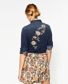 Image 5 of EMBROIDERED DENIM SHIRT from Zara