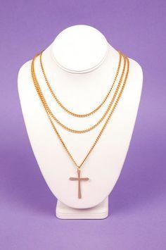 Triple Chain Cross Necklace $22 at www.tobi.com