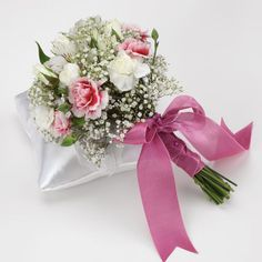 Bridal Toss Bouquet - White Alstroemeria, Pink Bicolor Miniature Carnations, Baby's Breath, White Spray Rose