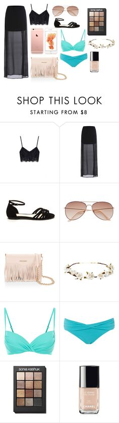 """""""Summer outfit"""" by anastasiashoup on Polyvore featuring H&M, Rebecca Minkoff, Cult Gaia, Monsoon, Seafolly, Sonia Kashuk and Chanel"""