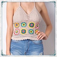 All Crochet Knitted Boho Top in Taupe Burst of Color All-crochet Summer Halter Top                                                                            one size fits most and is easily adjusted with back tie                                                                      Brand new, never worn bought exclusively for my Poshmark boutique. Enjoy! April Spirit Tops