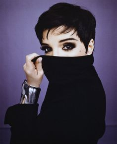 Liza Minelli wearing a fabulous black cashmere turtleneck... how sexy,seductive...and cool...