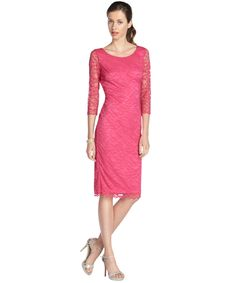 Hayden pink stretch lace overlay 3/4 sleeve dress | BLUEFLY up to 70% off designer brands