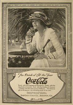 1917 Coca Cola Coke Ad ~ Lady Tennis Player, Vintage Coca Cola Ads