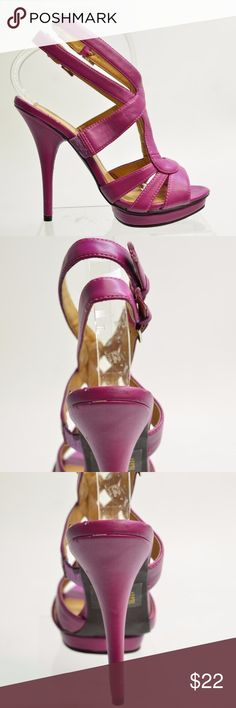 Marco Santi BABS Women's Magenta HEEL SANDALS Sz 8 Marco Santi BABS Women's Magenta Leather HEEL SANDALS Size 8M Leather upper.  Leather lining.  Dual adjustable ankle straps with buckle closure.  Size 8M   MSRP $275   K681 Marco Santi BABS Shoes Heels