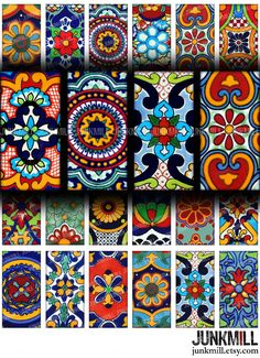 TALAVERA Digital Printable Collage Sheet Colorful Mexican Folk Art Designs in x domino tile size. Mexican Crafts, Mexican Folk Art, Mexican Pattern, Arte Country, Mexico Art, Mexican Designs, Wow Art, Pattern Art, Art Patterns