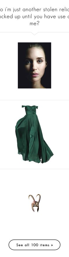 """so i'm just another stolen relic, locked up until you have use of me?"" by unicorns-and-sugarcubes ❤ liked on Polyvore featuring rooney mara, people, characters, dresses, gowns, vestidos, long dresses, green, filler and loki"