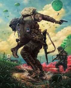 That is one badass painting! Tag your battle brother!  . . #82ndairborne #militaryart #usmilitary