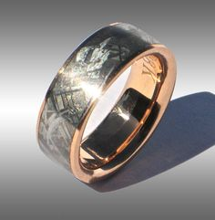 Seamless Gibeon Meteorite Ring my man has a thing with space, this is perfect! Wedding Rings Rose Gold, Gold Rings, Gold Wedding, Damascus Ring, Gibeon Meteorite, Wedding Men, Wedding Bands, Wedding Ideas, Couple Rings
