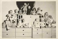Vintage Photo 50's Doll Display Collection