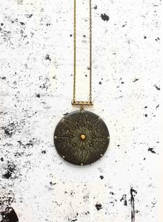 Gray & gold geometric necklace for her  mandala by AnankeJewelry