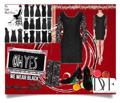 """""""Black Dress"""" by jeneric2015 ❤ liked on Polyvore featuring Marimekko, Abercrombie & Fitch, Diane Von Furstenberg, Moe's Home Collection, Topshop, Cyan Design and Prada"""