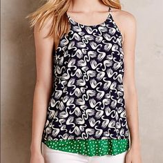 """Anthropologie Swing Tank Layered Swing Tank by Porridge How great are these swans with a pop of green and polka dots??Woven polyester atop soft rayon knit Front dart detail Vented back Machine wash Made in the USA 26.5""""L and 16.25"""" underarm to underarm Anthropologie Tops Blouses"""