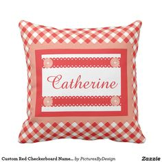 Custom Red Checkerboard Name, Personalize w Name 2 Throw Pillow