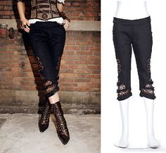 RQ-BL-Steampunk-3-4-Hose-LARP-Trousers-Rave-Punk-Brown-Pirate-Pants-Gothic-SP004