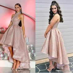 Hi Lo Sequined Prom Dresses Sleeveless High Collar Arabic Dubai Rose Gold Evening Dress Customize Cocktail Party Gowns Gold Evening Dresses, Sequin Prom Dresses, High Low Prom Dresses, Cute Prom Dresses, Gala Dresses, Rose Gold Dresses, Formal Dresses, Shirtdress Outfit, High Collar