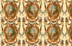 Rococo Swingers ~ Cream  ~ Medium  ~ by PeacoquetteDesigns on Spoonflower ~ bespoke fabric, wallpaper, wall decals & gift wrap ~ Join PD  ~ https://www.facebook.com/PeacoquetteDesigns