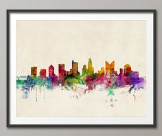 I like this one better.  Columbus Ohio Skyline Art Print  12x16 up to 24x36 by artPause, £12.99