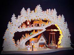LED Lichterbogen Schwibbogen 3D Winterkinder 8 Figuren und Pyramide 57x37 10058 | eBay