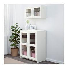 BRIMNES Armoire avec portes, verre, blanc - 78x95 cm - IKEA