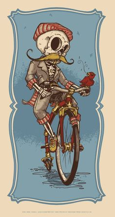 Ever so slightly creepy; why am I reminded of Don Quixote? Probably just me. (The Gentleman Cyclist by Jeral Tidwell) #skeleton #bike #bicycle: