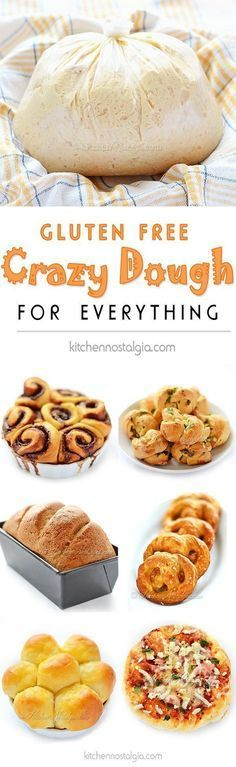 Gluten-Free Crazy Dough - make one dough keep it in your fridge and use it for anything you like: bread pizza dinner rolls cinnamon rolls garlic knots pretzels focaccia etc. - March 02 2019 at Gf Recipes, Dairy Free Recipes, Cooking Recipes, Bread Recipes, Gluten Free Recipes For Dinner, Gluten Free Recipes Thermomix, Lactose Free Dinners, Gluten Free Lunch Ideas, Cooking Tips