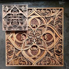 Oakland-based artist Gabriel Schama creates laser-cut wood relief wall art that feature layers of intricate swirls and abstract patterns. Myriads of geometric lines take the shape of human silhouettes, architectural elements, and mandala-like designs. Laser Art, Laser Cut Wood, Laser Cutting, Wood Cutting, Cutting Boards, Abstract Sculpture, Wood Sculpture, Paper Sculptures, Metal Sculptures