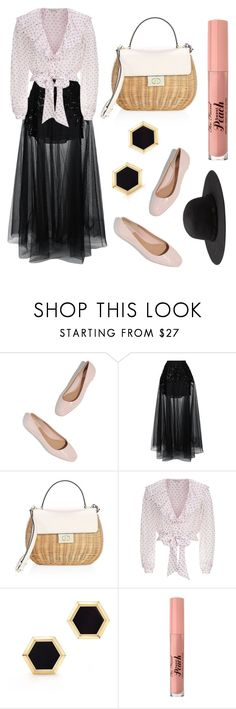 """""""Pokadot"""" by vintagecolorfinds on Polyvore featuring Elie Saab, Kate Spade, Temperley London, Birks and Too Faced Cosmetics"""