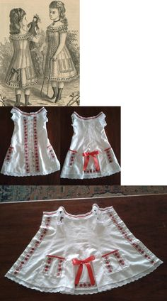 My four years old daughter's 1877s day dress, made from pillow cover, cotton damask with little floral pattern. Adorned with poppy red ribbons, bias tape and floral ribbon, cotton eyelet embroidery trimmings. Mother of pearl buttons.