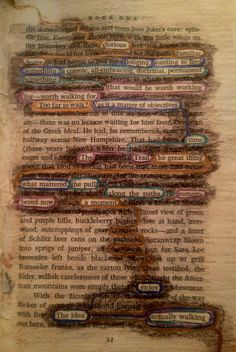 Found poetry altered book page from an altered book of mine called Reflections.