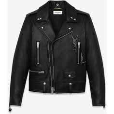 Saint Laurent Classic Ysl Motorcycle Jacket ($5,770) ❤ liked on Polyvore featuring outerwear, jackets, coats, coats & jackets, rider leather jacket, studded leather jacket, studded jacket, biker jackets and real leather jackets