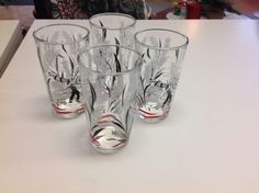 Set Of Four Cute 50's Drink Glasses Farm Motif