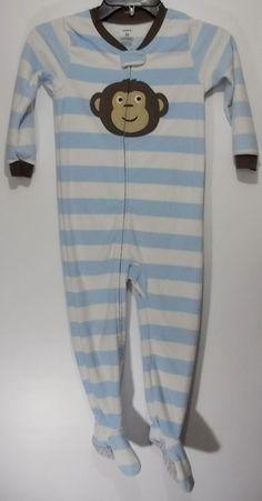 Carters Little Boy Size 4T Monkey Face Blue White Stripes Sleeper Footie Pajamas #Carters #OnePiece