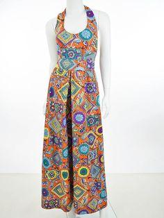 2fbf41f6c7c 60s 1960s Mod Print Palazzo Pant Jumpsuit - Blue Velvet Vintage   60sjumpsuit  1960sjumpsuit Printed