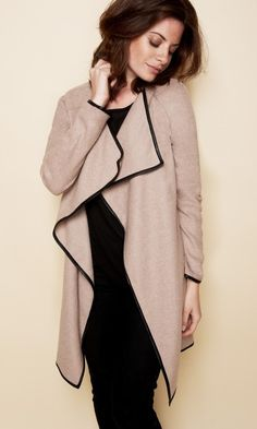 Woman's long sleeve wool and leather cardigan