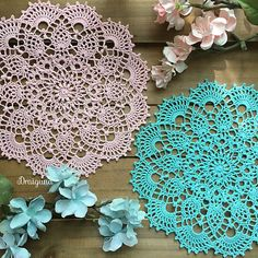 """This doily is 18 rounds and measures 8 1/2"""". There are several types of stitches in the doily including puff stitches, cluster stitches, front post single crochet, and picots."""