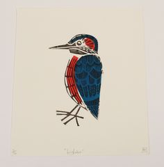 Kingfisher linocut 3 colour print