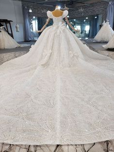 OSTTY - Square Collar Bow Lace Shiny Princess Large Trailing Wedding Dress OS2229 $829.99