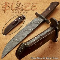 Hand-Made-By-Blaze-Knives-CUSTOM-DAMASCUS-BOWIE-KNIFE-BURL-WOOD-HANDLE-1194