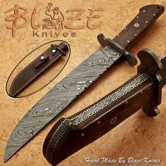 Hand-Made-By-Blaze-Knives-CUSTOM-DAMASCUS-BOWIE-KNIFE-BURL-WOOD-HANDLE-1194
